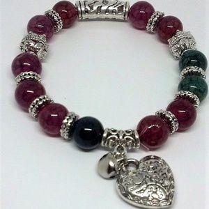 Natural Agate Heart Charm Stretch Bracelet